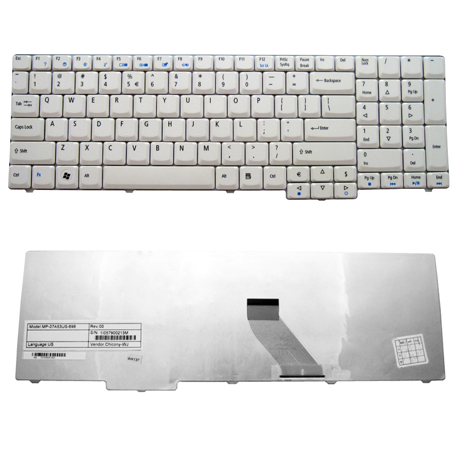 Laptop Keyboard Acer 7000 series/9300/9400 white